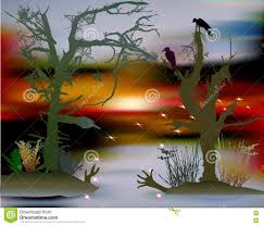 scary halloween landscape with swamp silhouettes of trees birds