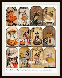 Halloween Vintage Pictures Vintage Halloween Tag Collage Sheet Polly U0027s Paper Studio