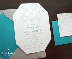 teal wedding invitations teal grey mid century modern die cut wedding invitations