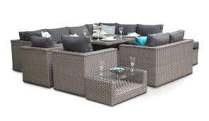 bahia modular rattan sofa dining set 11pc grey whitewash