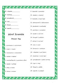 environment word scramble worksheet free esl printable