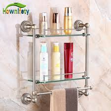 Bathroom Glass Shelves With Towel Bar Luxury Bathroom Glass Shelf With Towel Bar Bathroom Accessories
