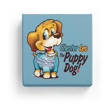 dog wall art chester leo the puppy dog canvas wall art sky blue