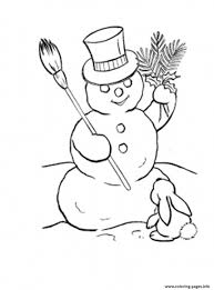 rabbit and snowman s winter 12b4 coloring pages printable