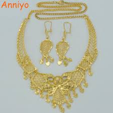 wedding gift necklace anniyo arab jewelry sets necklace earrings gold color wedding gift