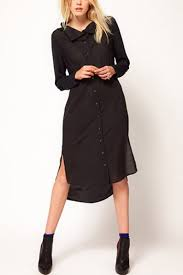 black buttons up long sleeve side slit high low dress long