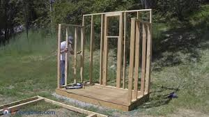 Free Plans For Building A Wood Storage Shed by How To Build A Lean To Shed Part 2 Wall Framing Youtube