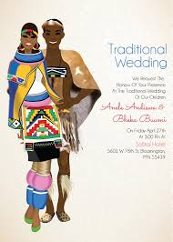 south zulu traditional wedding invitation card