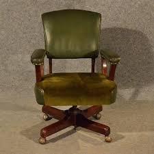Leather Captains Chairs Antique Leather Office Desk Study Swivel Captains Chair Vintage