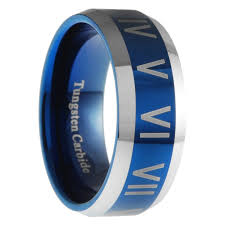 numeral ring 8mm tungsten carbide mens blue numeral mens wedding band