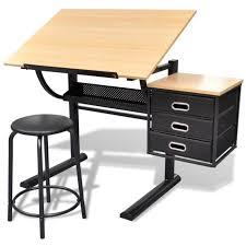 bureau a dessin table brun à écrire et à dessin inclinable avec 3 tiroirs et
