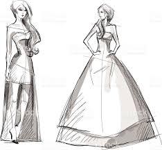 fashion hand drawn illustration vector sketch long dress stock
