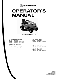snapper lt 200 series lawn mower user manual