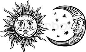 an etched style illustration of a sun moon and with