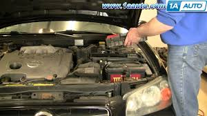 how to replace install engine air filter nissan maxima 2000 03