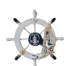 ximkee nautical beach wooden boat ship steering wheel fishing net
