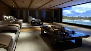 Modern Media Room Ideas - contemporary living tv room design ideas dark gray paneling wall