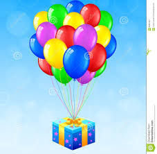 balloons gift birthday background with balloons and gift stock vector image
