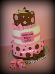 baby shower cake ideas pink and brown