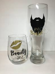 his hers wine glasses beauty the beard set stemless wine glass mug his and