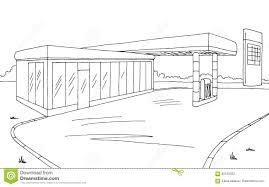 gas station graphic black white sketch illustration stock vector