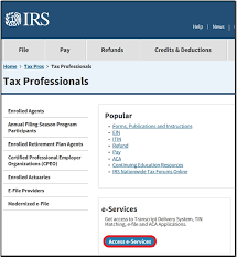 use an irs e services online account for efin application or