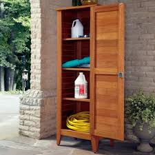 entrancing outdoor wooden storage cabinet with four story shelves