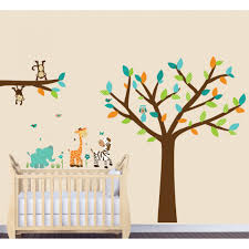 teal jungle stickers with elephant wall mural for kids animals and leaves are a fabric repositionable reusable decal material decal includes 1 tree wide by tall tree and branch are a quality