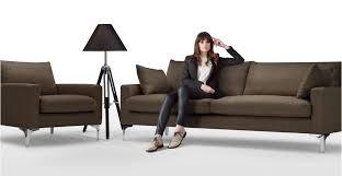 mendini 3 seater sofa in chocolate brown made com