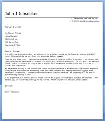 doorman cover letter creative resume design templates word