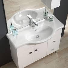 armadietto bagno con specchio mobile bagno 105 cm classico con lavabo specchio e pensile bianco