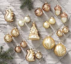 gold assorted glass ornaments set of 20 pottery barn