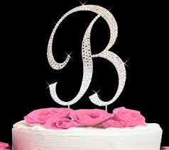 letter cake topper rhinestone cake toppers for weddings monogram and initial cake topper
