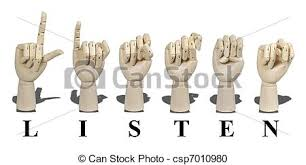 stock photography of listen spelled in sign language letter