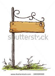 vector sketch retro sign board wooden stock vector 186590069
