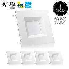 square recessed lighting fixtures 4 pack 6 inch led square downlight trim 15w 100w replacement