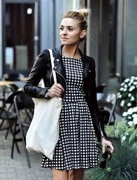 the black leather jacket u2013 a timeless trend gingham dress