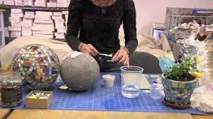 Garden Gazing Globe How To Use Thinset To Attach Mosaic Pieces To A Gazing Ball Youtube
