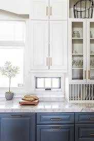 white cabinets on top blue on bottom built in plate rack transitional kitchen benjamin
