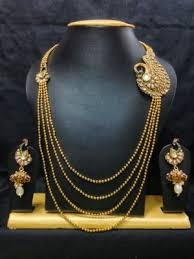 gold haram sets moti peacock design haram jewelry set in high gold with