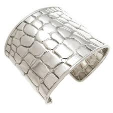 cuff bracelet tiffany images Tiffany and co silver crocodile textured wide cuff bracelet at jpg