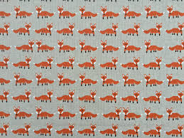 Roman Upholstery Orange Fox Fabric Vintage Upholstery Cotton Woodland Forest Scene