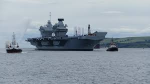 Queen Elizabeth Ii Ship by New Aircraft Carrier Undergoing Checks After Propeller Shafts U0027 Issue