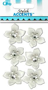 offray accessories offray satin ribbon flower with gem 6 pc white createforless