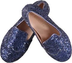 Inky Blue Zabel Inky Blue Molo Ballerina Shoes With Glitter Molo