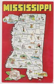 Mississippi natural attractions images Retro mississippi tourist map postcard souvenir by vintagepackrat jpg