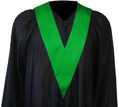 graduation toga graduation gown with student tie in colour green square caps