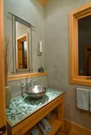 Bathroom Vanity Makeover Ideas by Cool Mirror Zen Look Bathroom Vanity With River Rocks Under