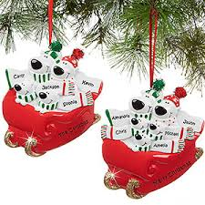 personalized family ornaments polar sled
