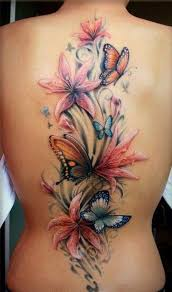 flowers and butterflies back flower tatoo